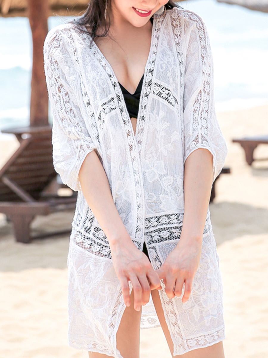 See-Through Plain Half Sleeve Kimono