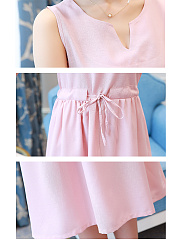 V-Neck  Drawstring Ruffled Hem  Plain Skater Dress
