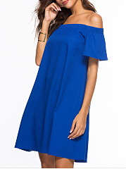Off Shoulder  Plain Shift Dress