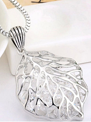 Hollow Out Rhinestone Leaf Shape Long Necklace