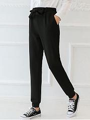 Casual-Bowknot-Elastic-Waist-Plain-Jogger-Pants