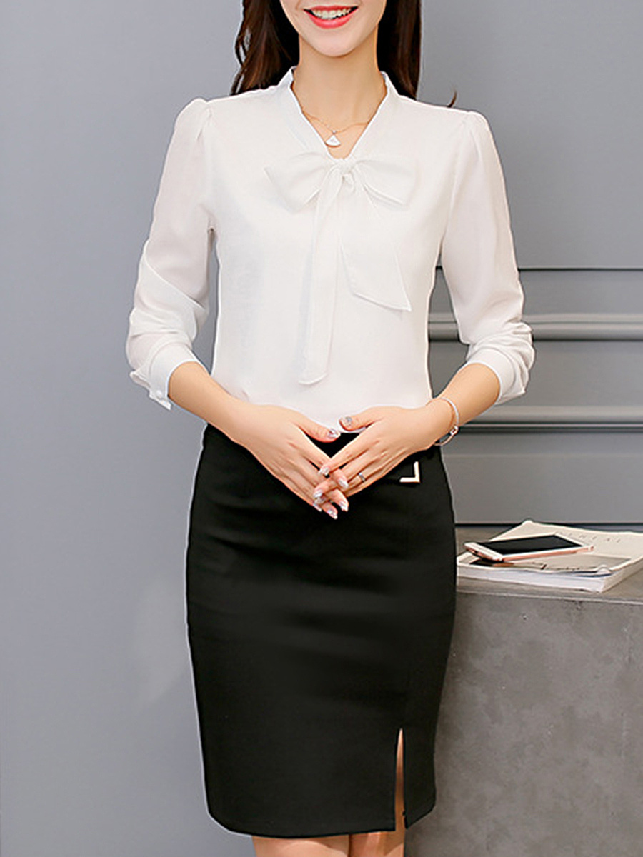 Tie Collar Bowknot Plain Chiffon Long Sleeve T-Shirt