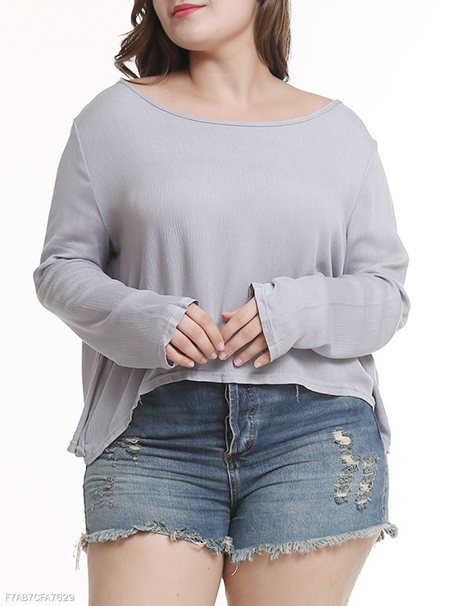 Round Neck  Backless  Plain  Long Sleeve Plus Size Blouse