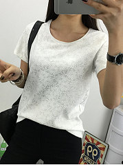 Summer  Cotton Lace  Women  Round Neck  Floral  Short Sleeve Blouses