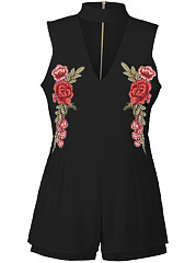 Band-Collar-Cutout-Zips-Embroidery-Patch-Romper