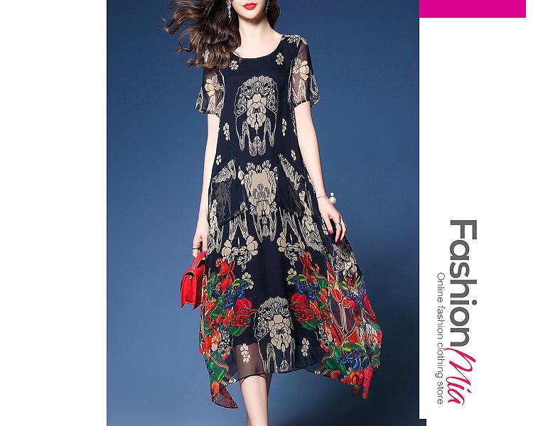 Image of Asymmetric Hem Hollow Out Printed Chiffon Maxi Dress