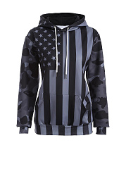 Stylish Star Striped Printed Hoodie