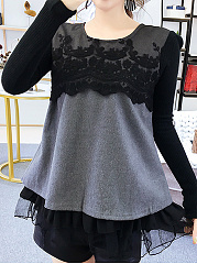 Autumn Winter  Women  Decorative Lace  Cascading Ruffles  Long Sleeve Blouses