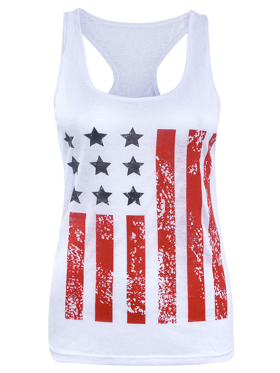 Round Neck  Racerback Flag Printed Sleeveless T-Shirt