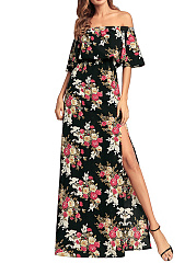 Off Shoulder  Elastic Waist High Slit  Printed Maxi Dress