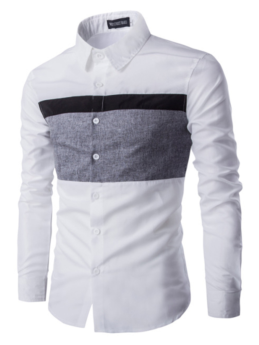 Fitted Color Block Men Shirts