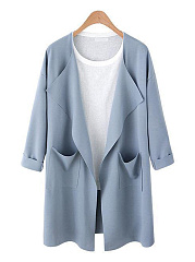 Lapel Patch Pocket Plain Trench Coat