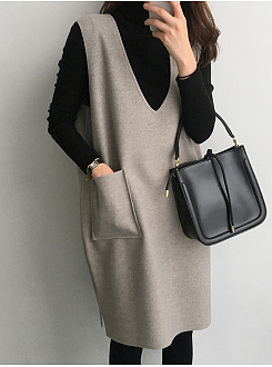 High Neck  Slit Pocket  Color Block Two-Piece Shift Dress