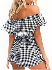 Collarless  Curved Hem  Plaid Jumpsuits For Women