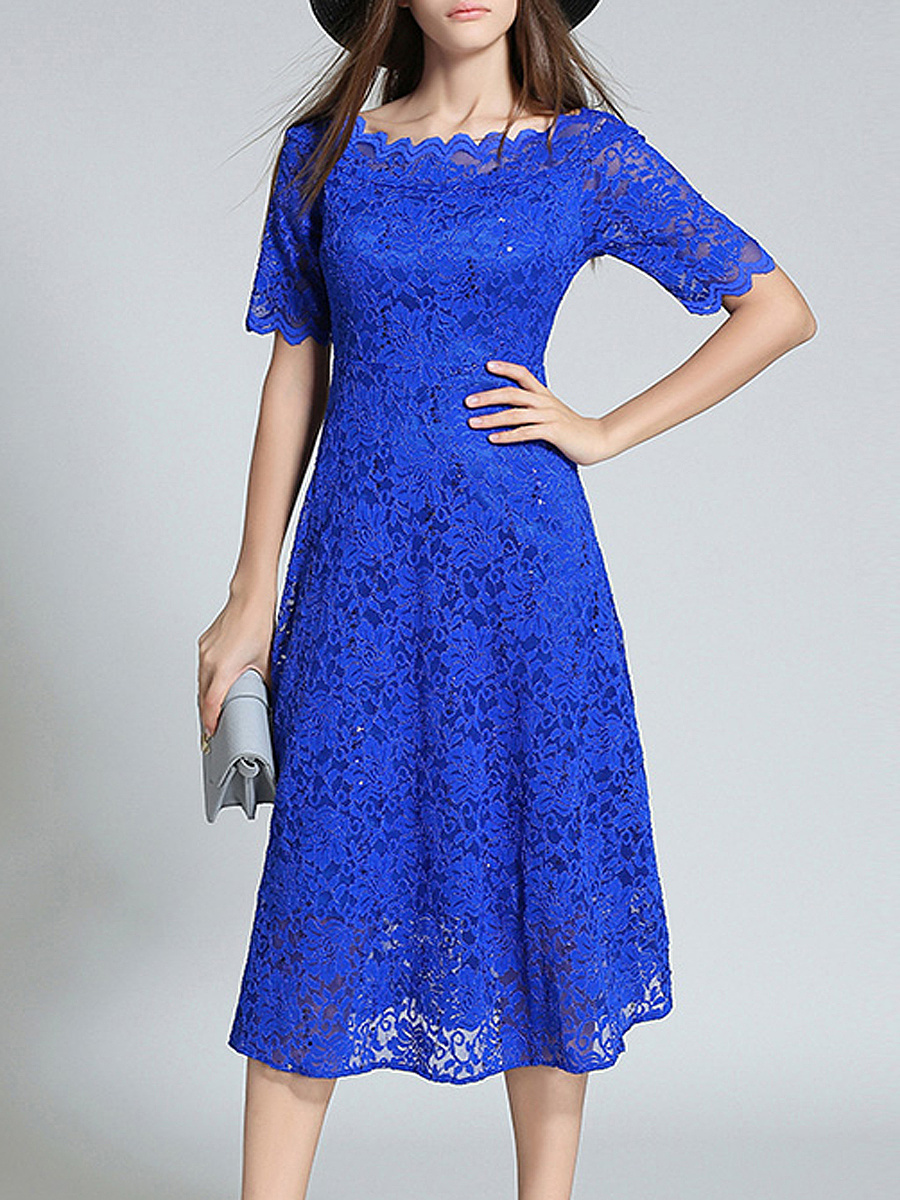 Round Neck  Lace  Lace Evening Dresses
