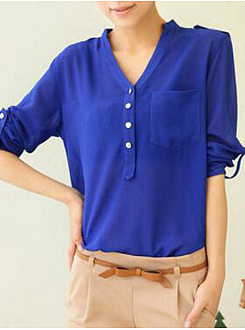Autumn Spring  Polyester  Women  Decorative Button  Plain  Long Sleeve Blouses