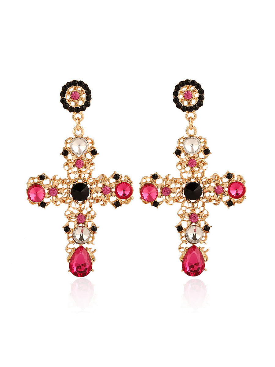 Cross Shape Faux Crystal Earring