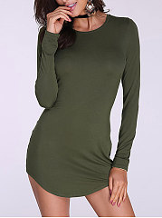 Round Neck  Asymmetric Hem  Plain Long Sleeve T-Shirts