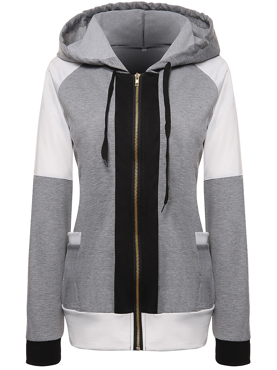 Designed Patch Pocket Zips Color Block Hoodie