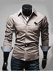 Embroidery Plain Men Shirts