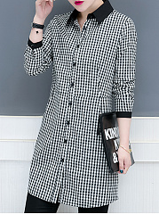 Button Down Collar  Patchwork  Checkered Blouses