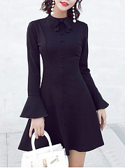 Band Collar Bowknot Plain Bell Sleeve Skater Dress