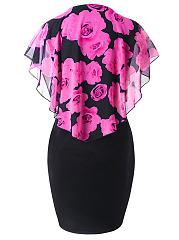 Round Neck  Flounce  Floral Printed Plus Size Bodycon Dress
