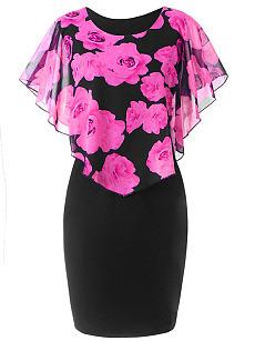 d08c63efb10eb Round Neck Flounce Floral Printed Plus Size Bodycon Dress