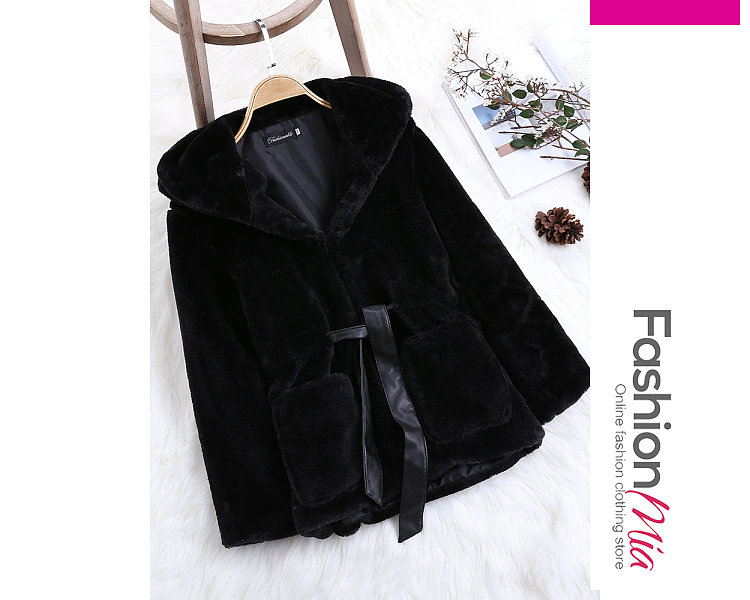 gender:women, hooded:yes, thickness:thick, brand_name:fashionmia, outerwear_type:coat, style:elegant,fashion,japan & korear, material:fur, collar&neckline:hooded, sleeve:long sleeve, more_details:belt, pattern_type:plain, occasion:basic,daily,nightout, season:autumn,winter, package_included:belt*1,top*1, lengthshouldersleeve lengthbust