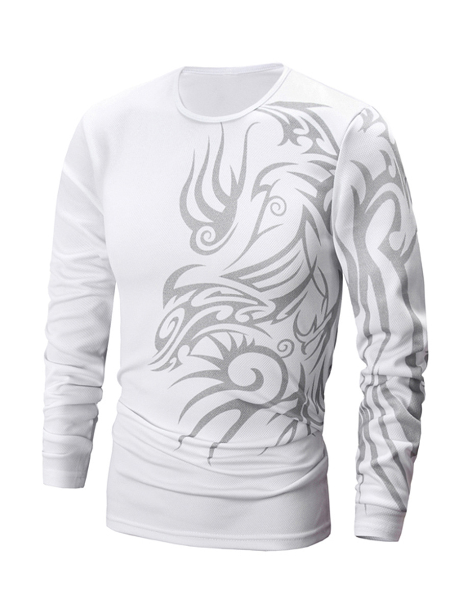 Crew Neck  Printed  Long Sleeve Long Sleeves T-Shirts