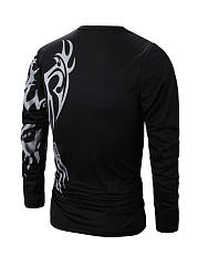 Long Sleeve Trendy Crew Neck Printed T-Shirt