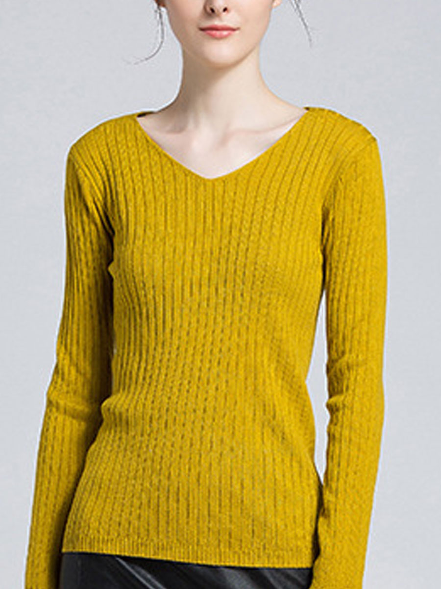 Image For V-Neck  Striped  Long Sleeve Sweaters Pullover