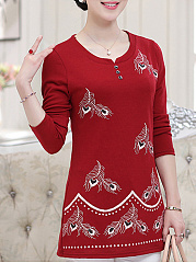 Autumn Spring  Polyester  Women  Round Neck  Decorative Button  Floral Printed Long Sleeve T-Shirts