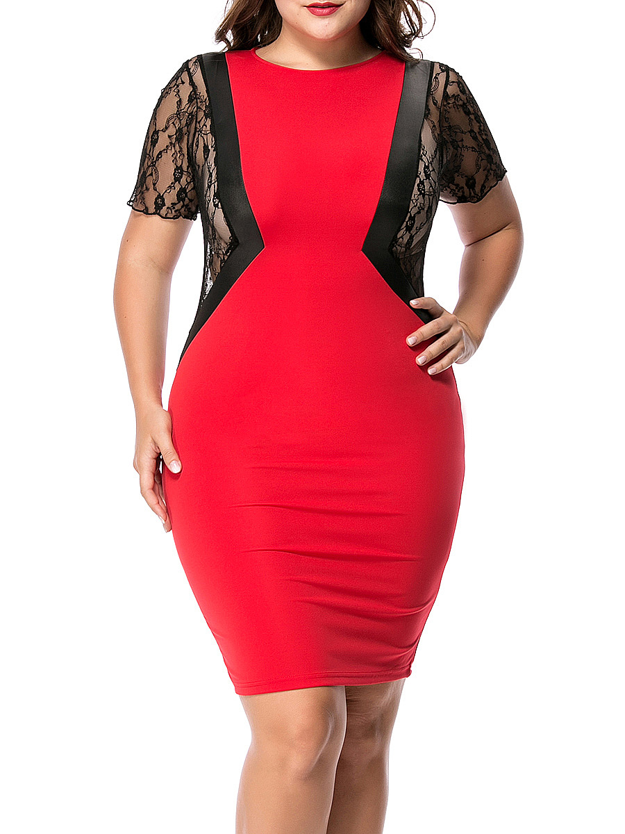 See-Through Color Block Patchwork Plus Size Bodycon Dress