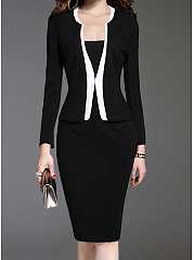 Shawl Collar  Single Breasted  Decorative Button  Colouring Bodycon Dress
