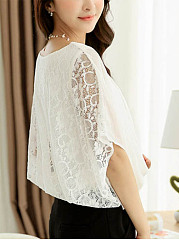 Hollow Out Plain Round Neck Patchwork Cape Sleeve Blouse
