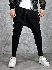 Plain-Pocket-Zips-Pegged-Mens-Casual-Pants