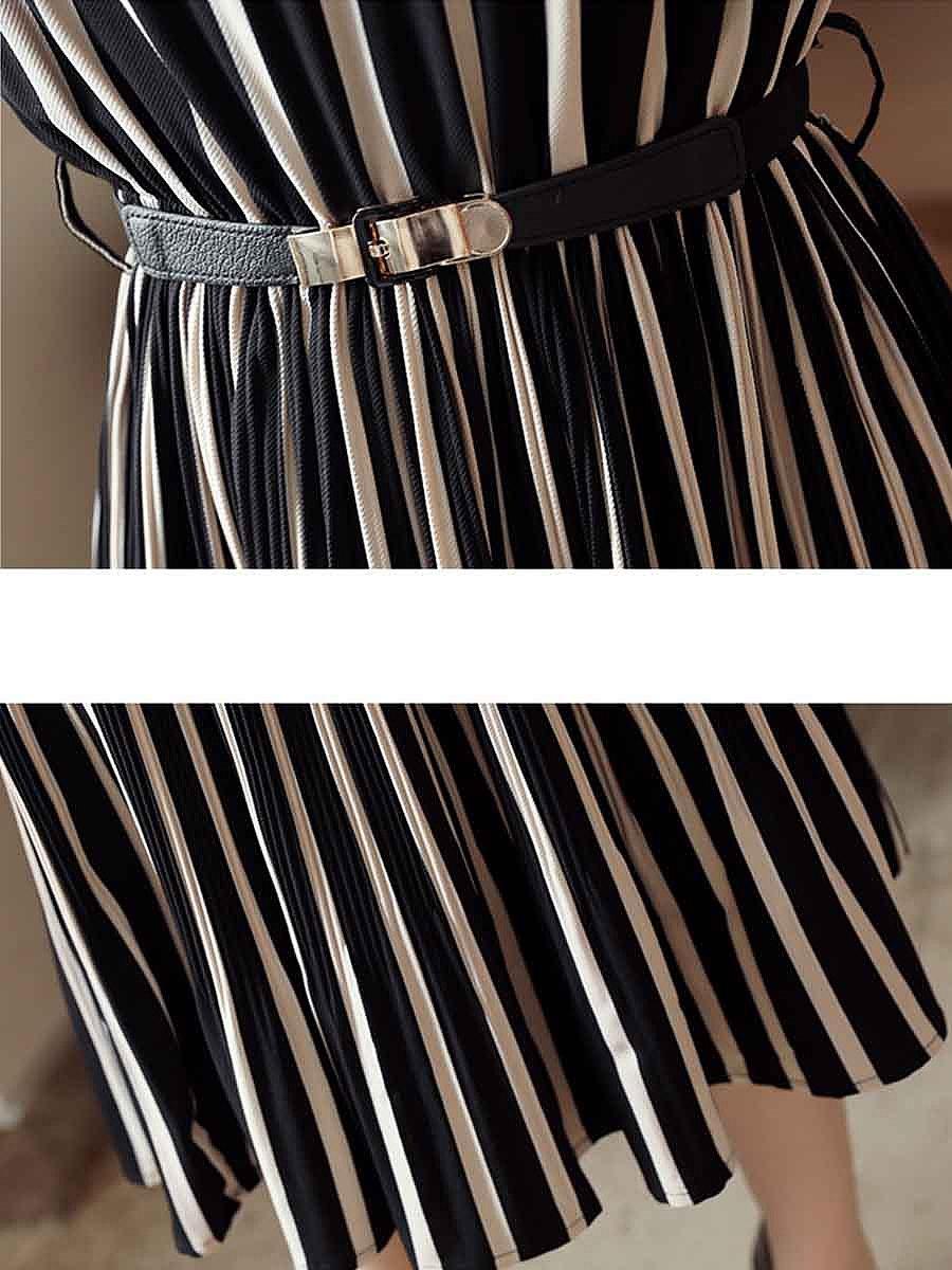 Round Neck Cutout Vertical Striped Belt Midi Skater Dress