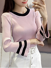 Round Neck Striped Bell Sleeve Sweater