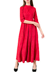 Band Collar Inverted Pleat Plain Maxi Dress