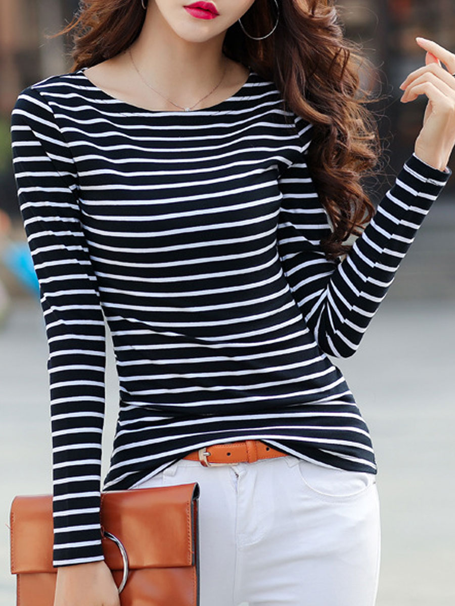 Image For Autumn Spring  Cotton  Women  Round Neck  Striped Long Sleeve T-Shirts