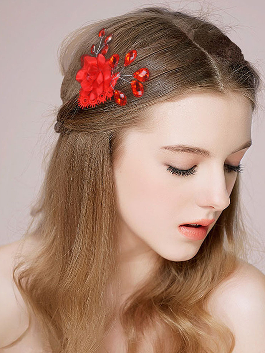 Red Flower Party Hair Clip