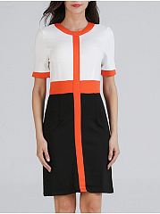 Round Neck  Patchwork  Color Block Bodycon Dress