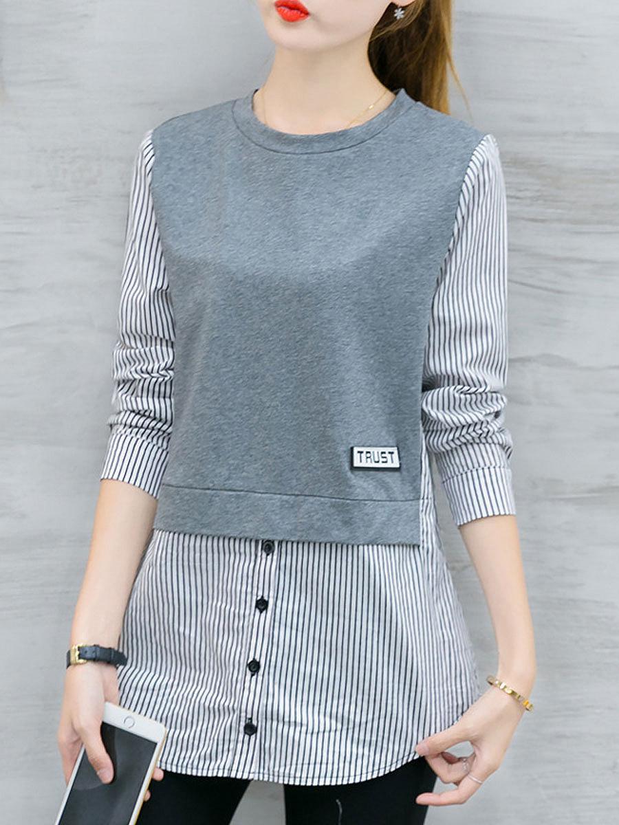 Autumn Spring  Cotton  Women  Round Neck  Patchwork  Decorative Button  Plain  Long Sleeve Blouses
