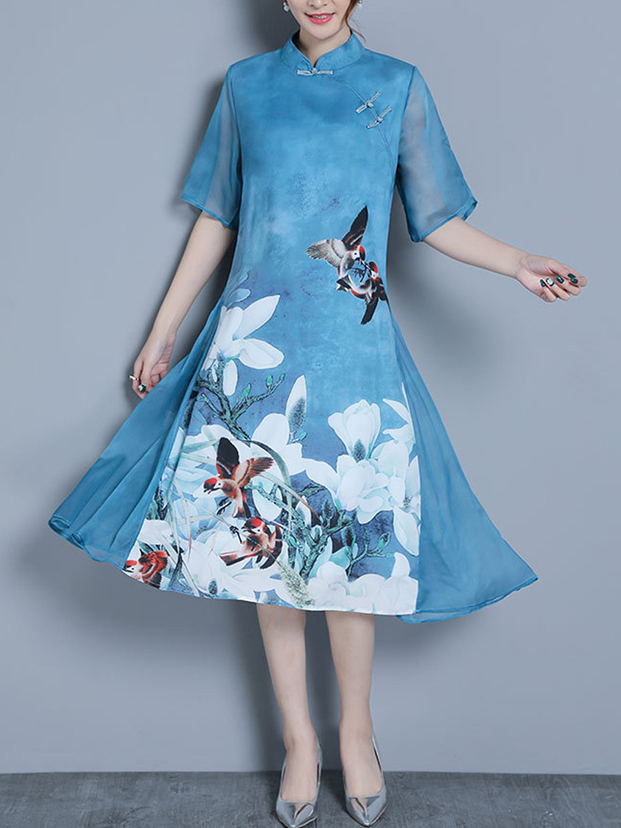 Band Collar Floral Hollow Out Half Sleeve Midi Shift Dress