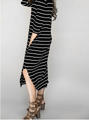 Round Neck  Asymmetric Hem  Striped Maxi Dress