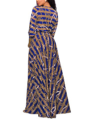 Deep V-Neck Striped Chain Printed Belt Maxi Dress