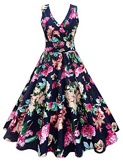 Vintage V-Neck Floral Printed Midi Skater Dress