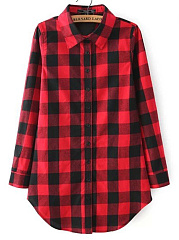 Button Down Collar  Checkered Blouses