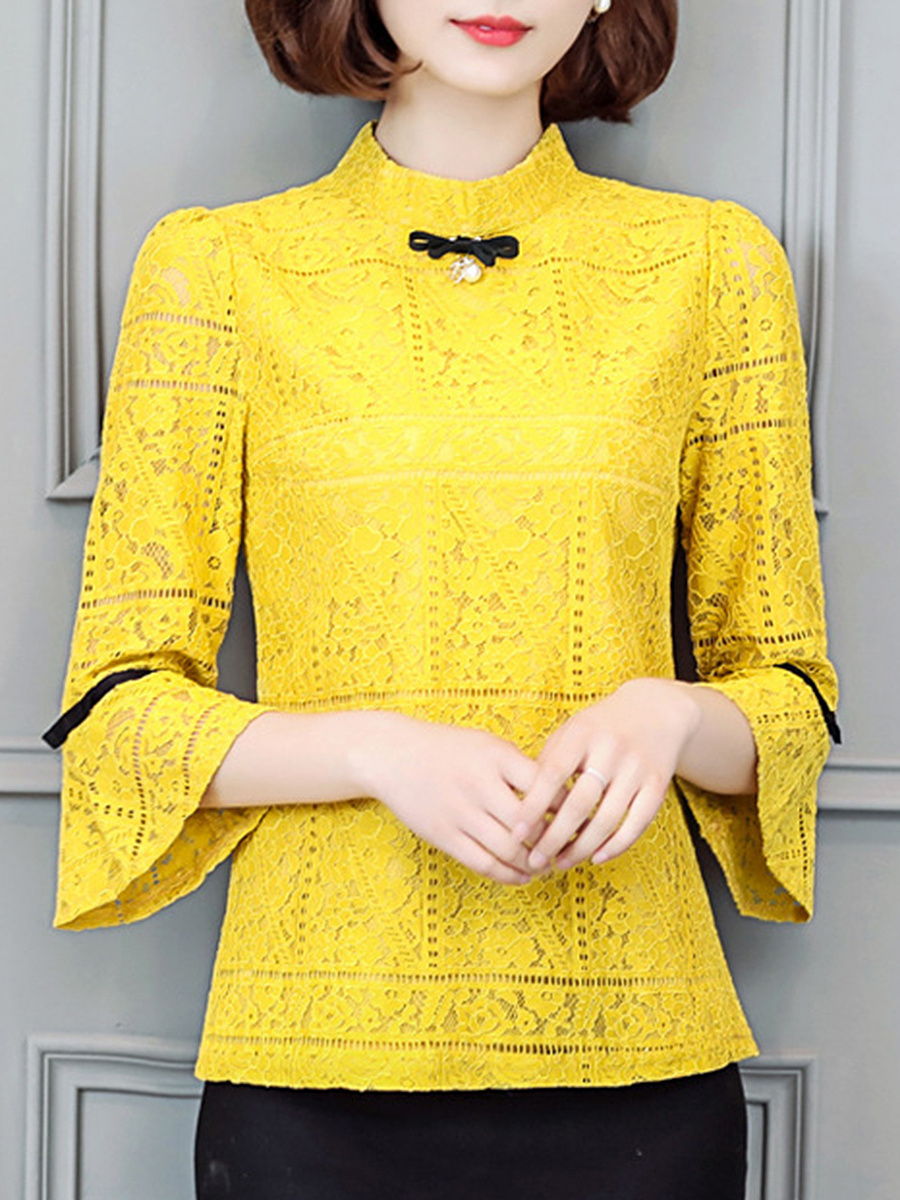 Band Collar Lace Hollow Out Bowknot Bell Sleeve Blouse